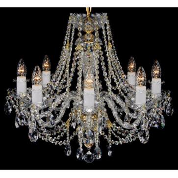 Eight light brass and crystal chandelier