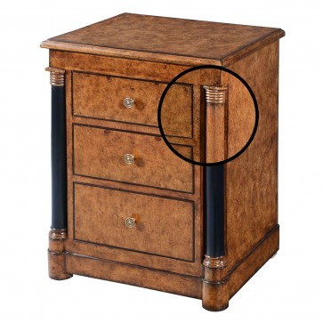 Empire bedside chest of drawers - Burr oak