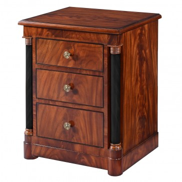 Empire bedside chest of drawers in mahogany
