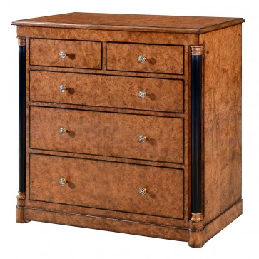 Empire chest of 5 drawers - burr oak with ebony