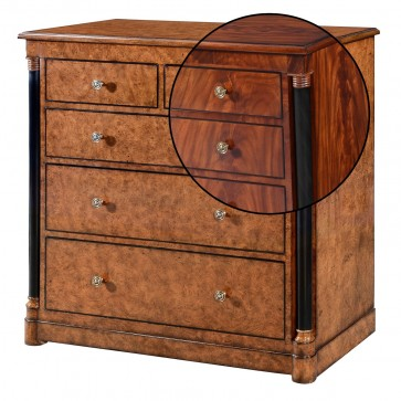 Empire chest of 5 drawers - Mahogany with ebony