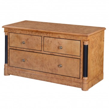 Empire television stand - honey burr oak with ebony line