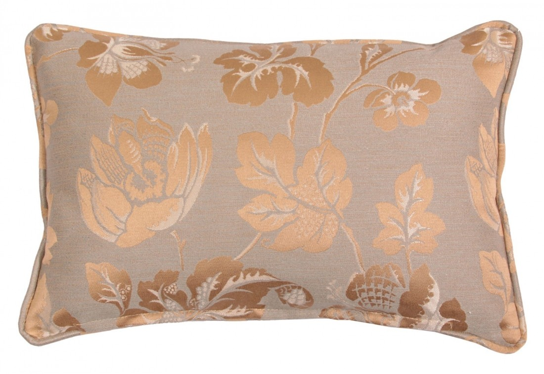 Envelope scatter cushion in metallic gold floral fabric