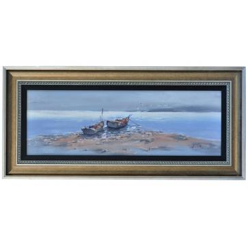 Evening at Ebb tide, framed oil painting