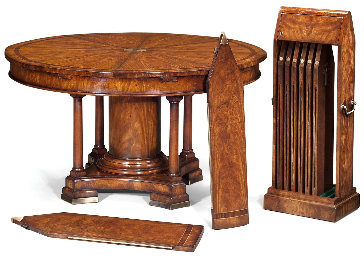 Expanding Jupes Table In Crotch Mahogany   Dia 60 To 84