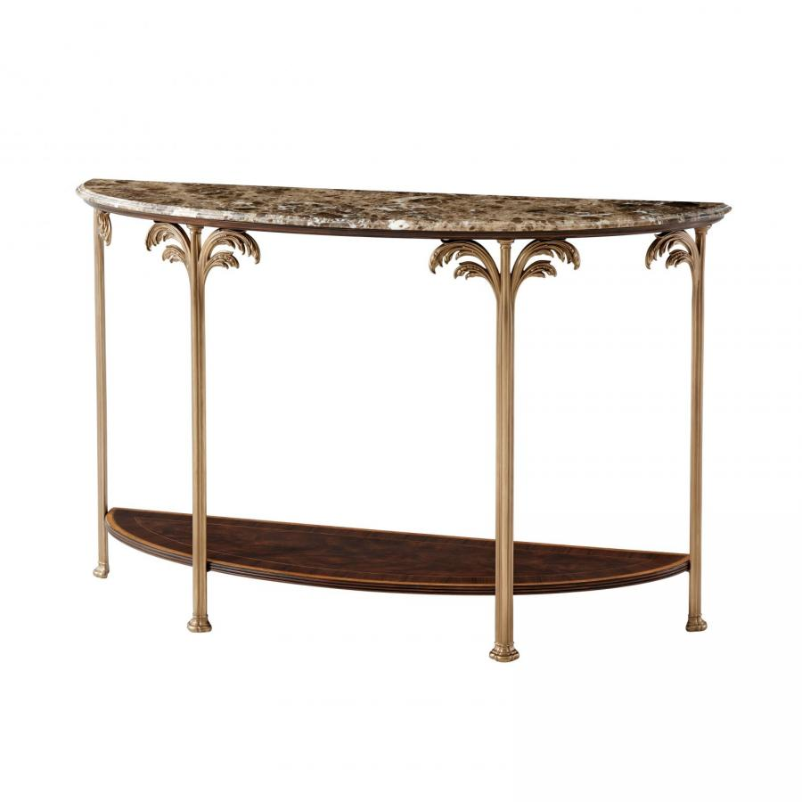 Finely Detailed Flame Mahogany Console Table with Palm Tree Accents