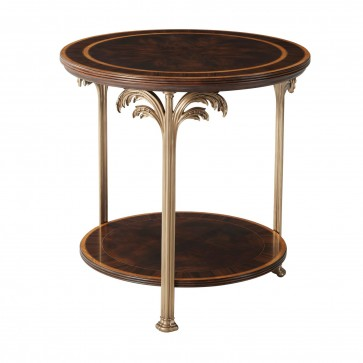 Finely Detailed Flame Mahogany  Side Table with Palm Tree Accents