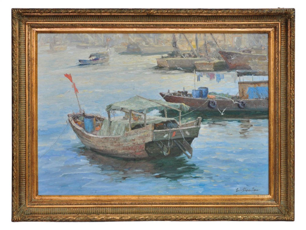 Fishing boats at Samshuii, framed oil painting