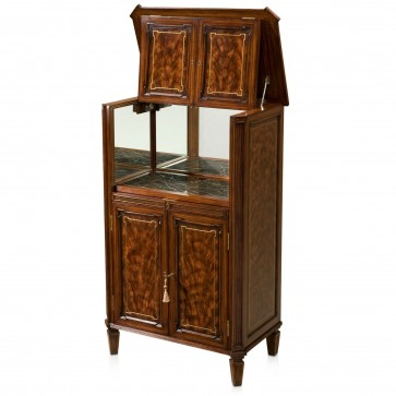 Flame mahogany bar or drinks cabinet with brass inlay