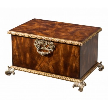 flame mahogany gilt carved box