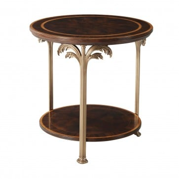 Flame Mahogany  Side Table with Palm Tree Accents