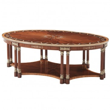 Floral Inlaid Mahogany and Etimoe Veneered Cocktail Table