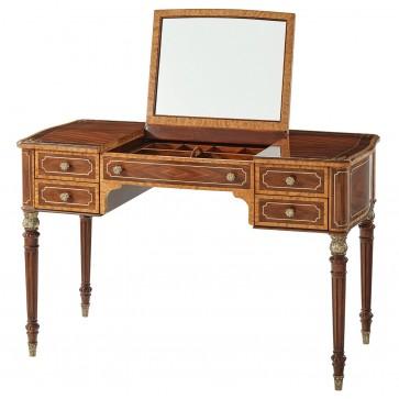 Floral Inlaid Mahogany Dressing Table