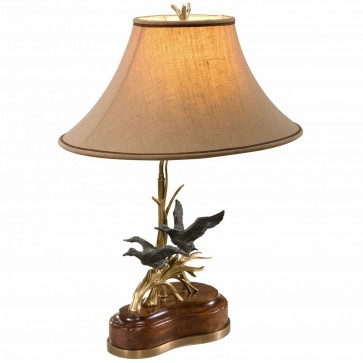 Flying ducks mahogany table lamp
