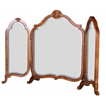 Folding dressing table mirror in mapha burr