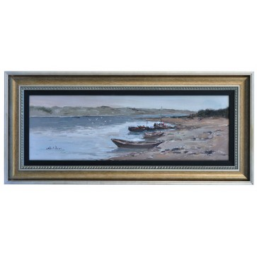 Four boats drawn up on beach, framed oil painting