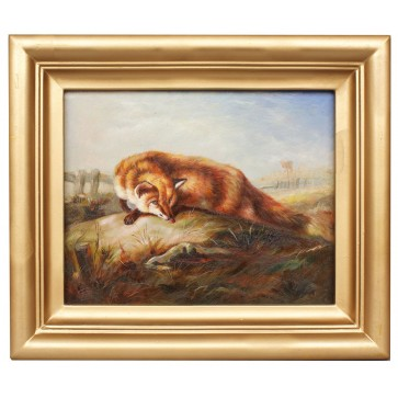 Fox in focus, framed oil painting
