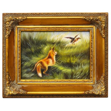 Fox ready to pounce, framed oil painting