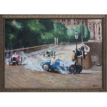 Framed Oil Painting of Bugatti Type 35s at Grand Prix de Monaco