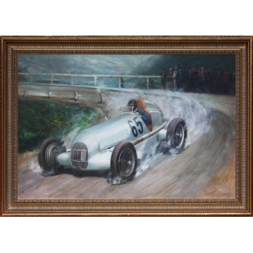Framed Oil Painting of Rudolph Caracciola in the Daimler-Benz W25