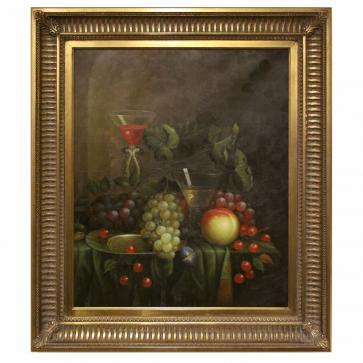Fruit and wine still life oil painting