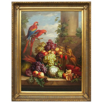 Fruits with parrots and monkey