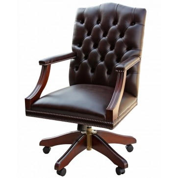 Gainsborough swivel chair in Heritage dark chocolate leather