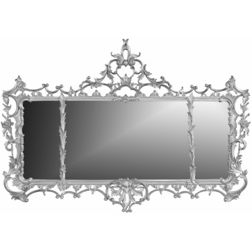 George II style overmantel mirror - champagne silver