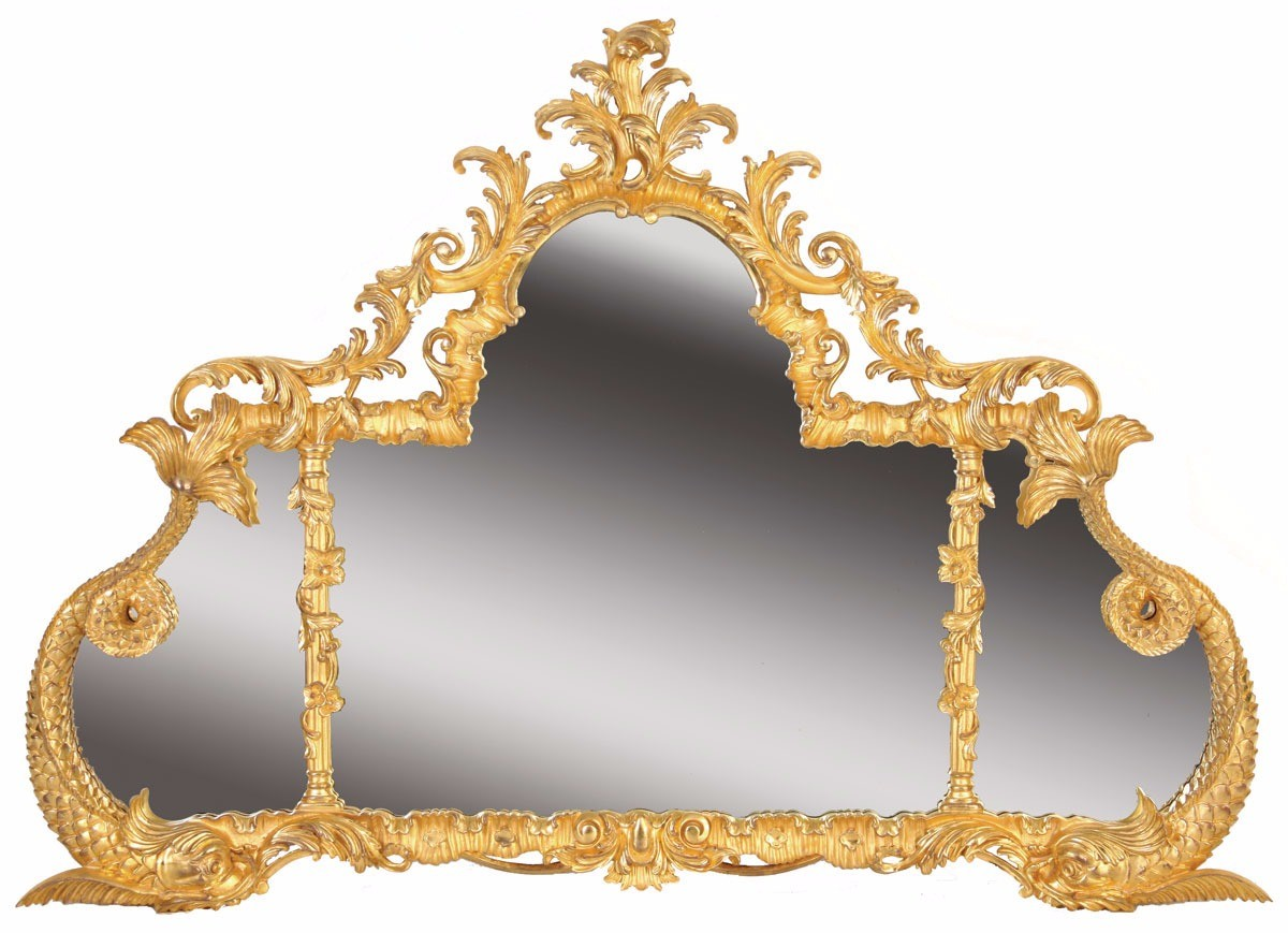 George III style water gilded overmantel mirror
