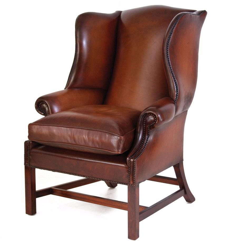 Georgian Hide Wing Chair Leather Chairs In Stock From