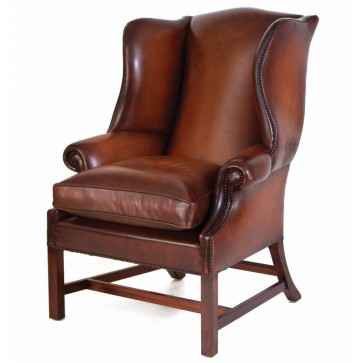 Georgian hide wing chair