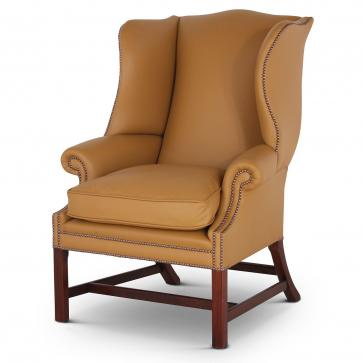 Georgian leather wing chair - Ochre
