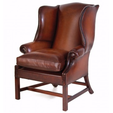 Georgian Leather Wing Chair