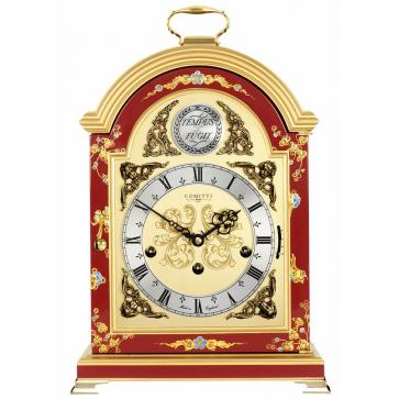 Georgian style break arch table clock in red chinoiserie