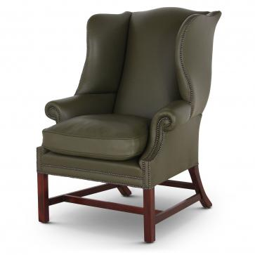 Georgian wing chair in green leather