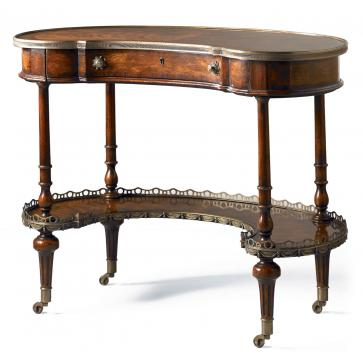 Gillows kidney shaped ladies desk in mahogany and rosewood
