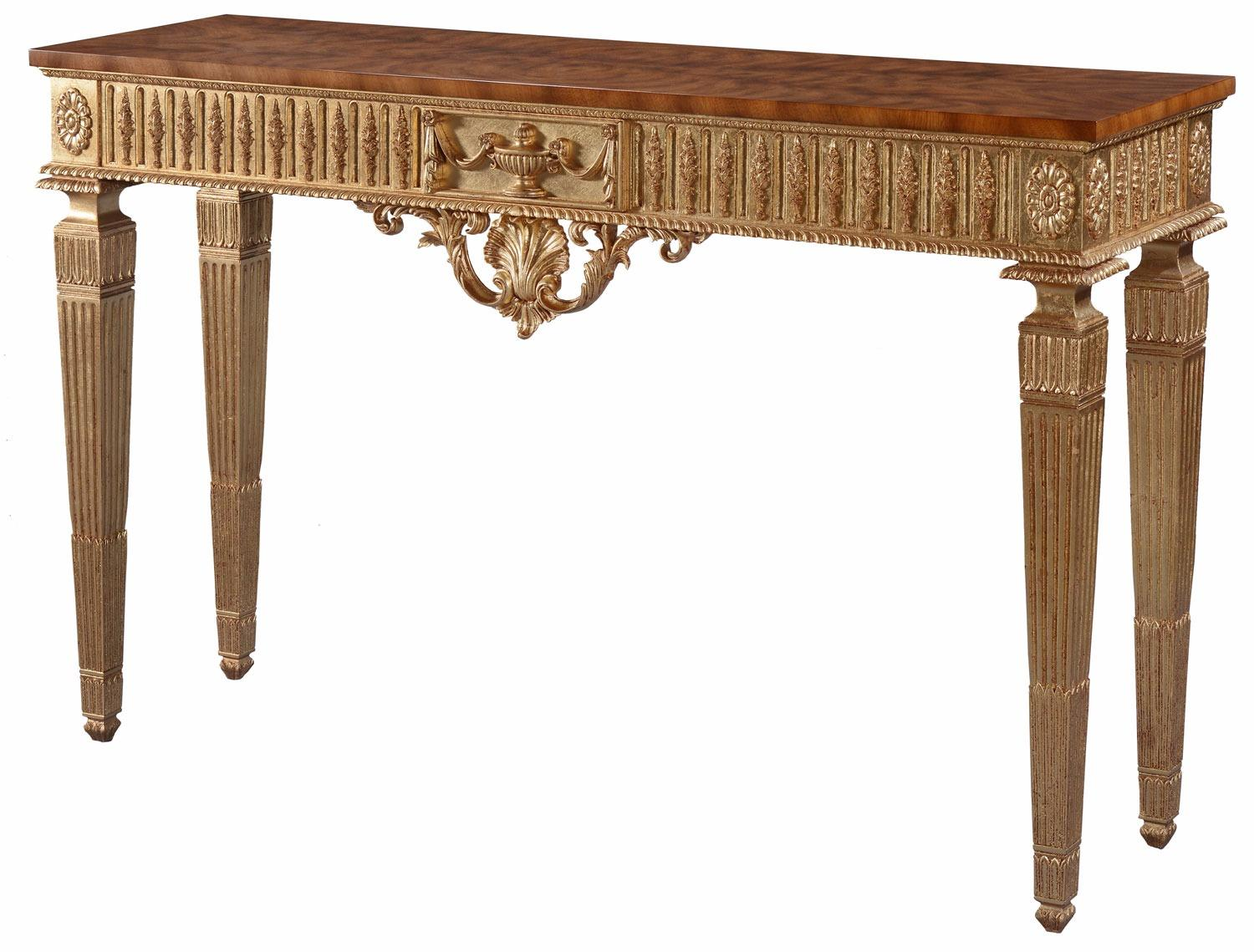 Giltwood console table with cerejeira top