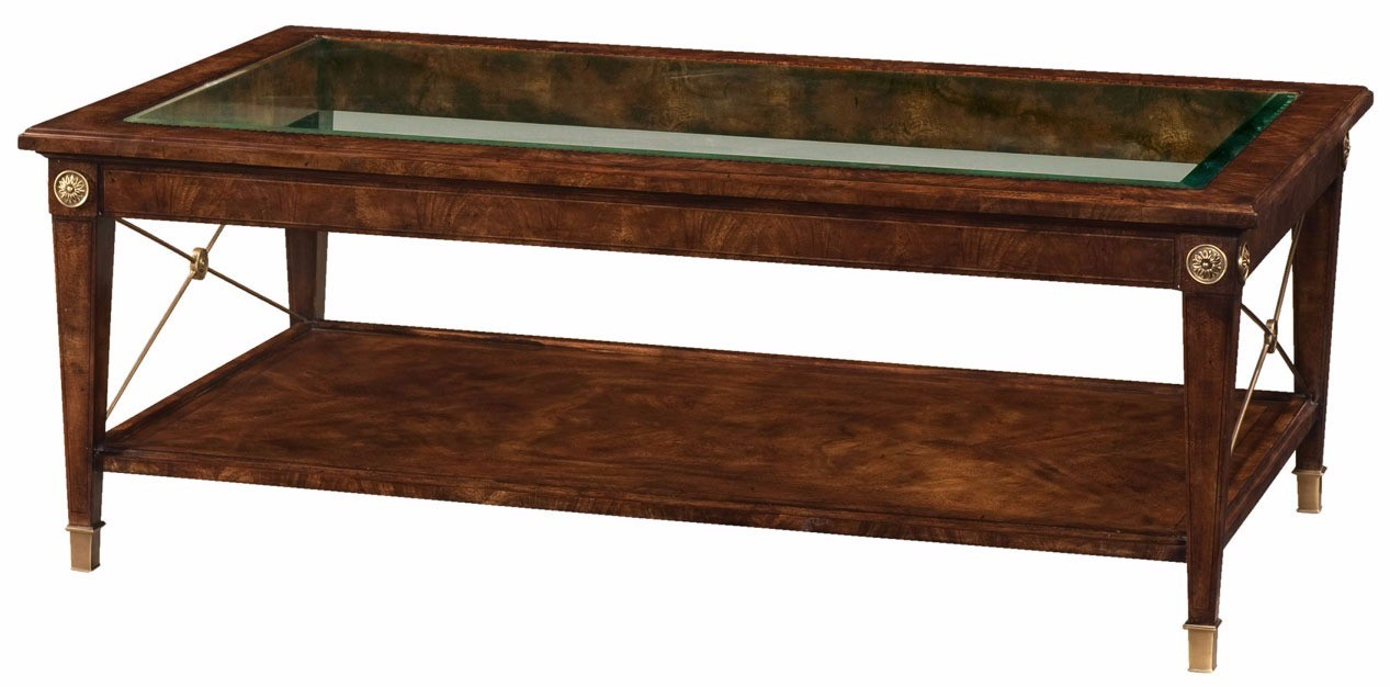 Glass top flame mahogany coffee table