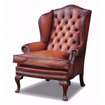 Hambledon wing chair in hand dyed hide