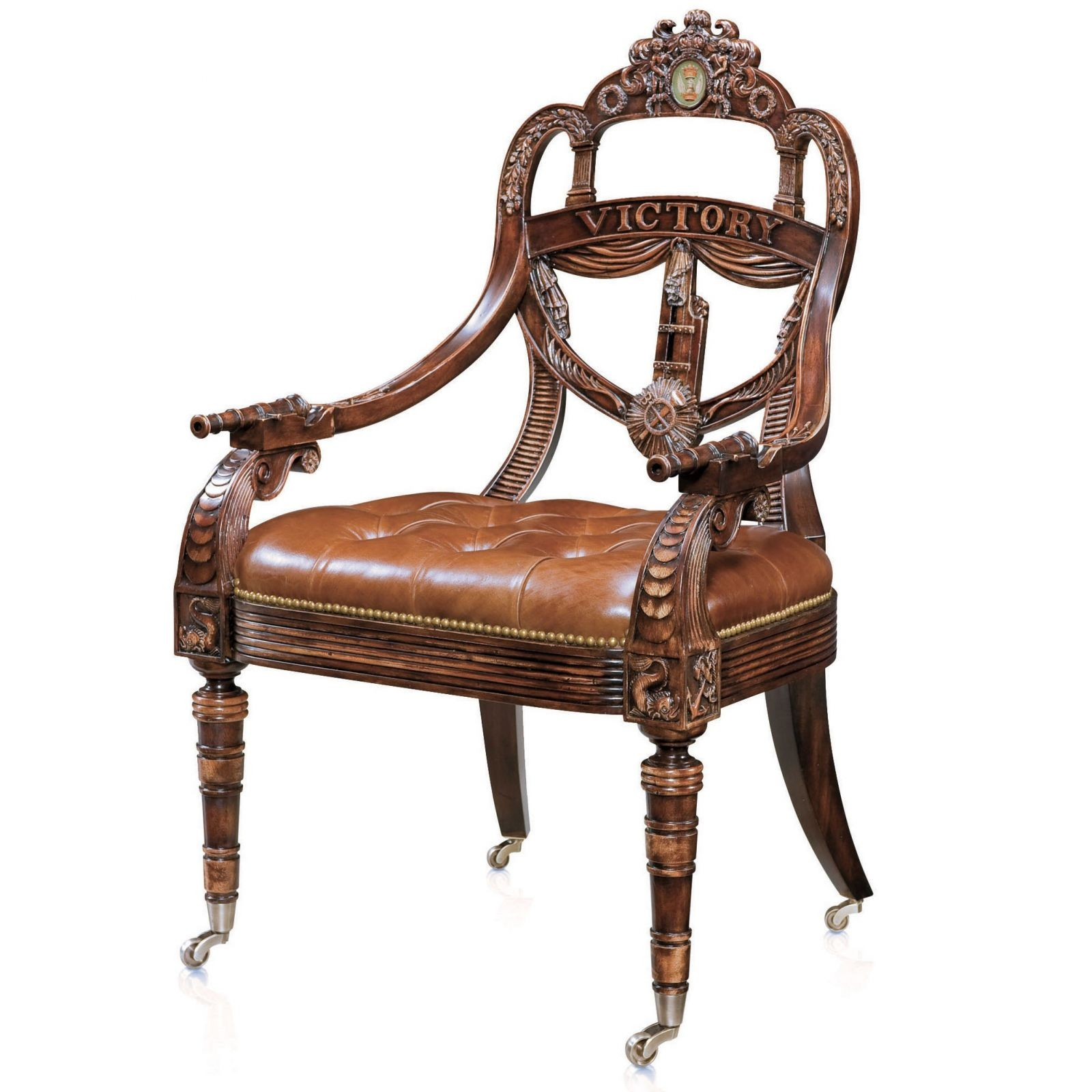 Hand carved mahogany library armchair