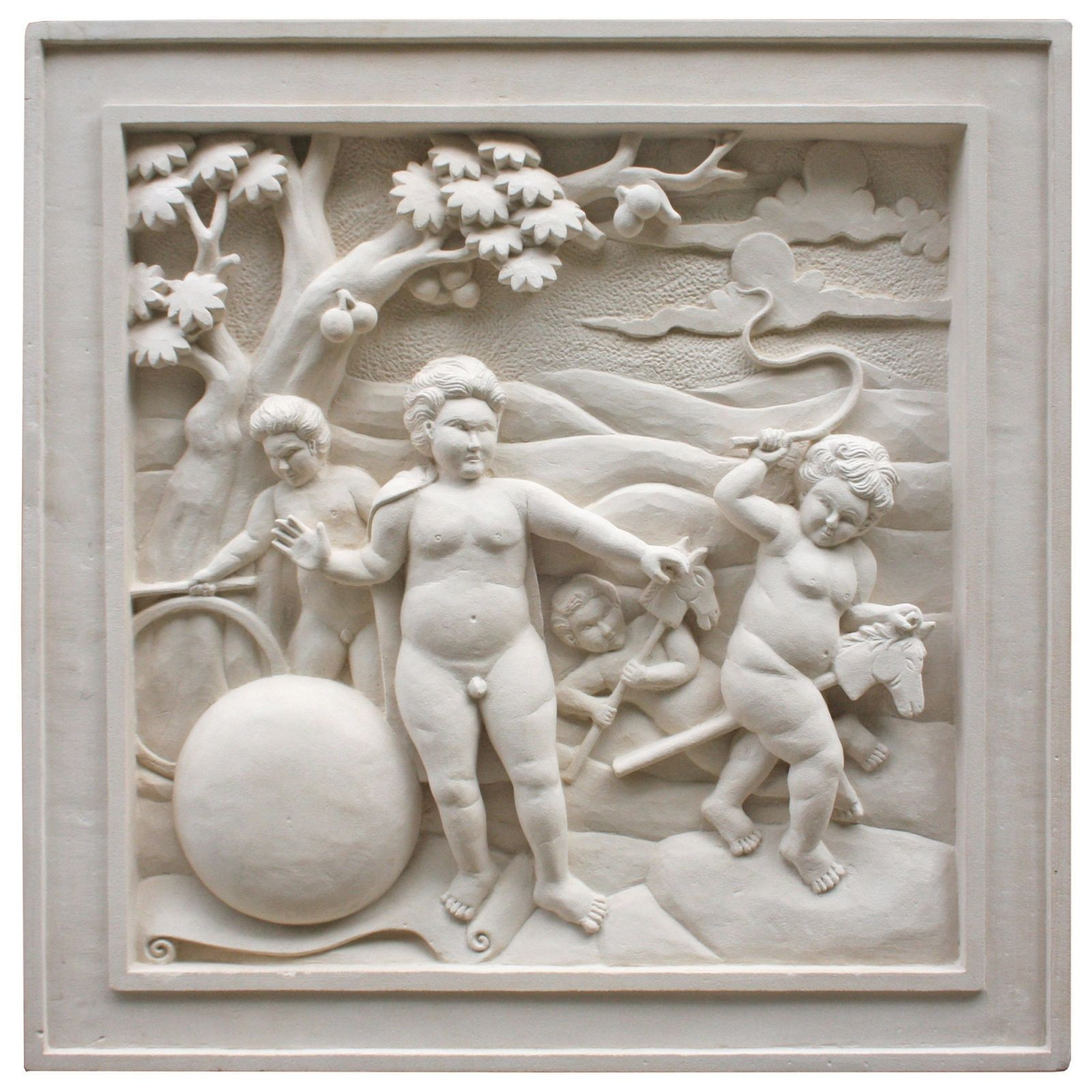 Hand carved stone wall plaque - Cherubs
