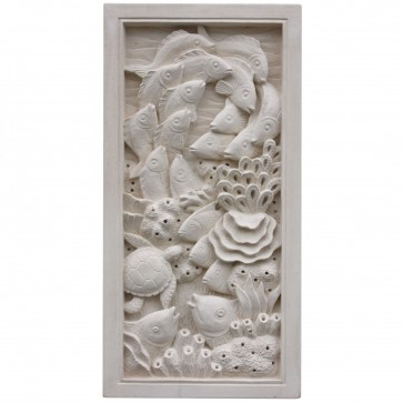 Hand carved stone wall plaque - Coral Reef