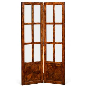 Hardwood parquetry glazed screen