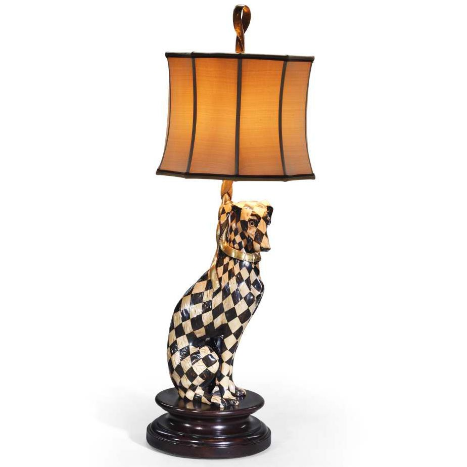 Harlequin whippet table lamp