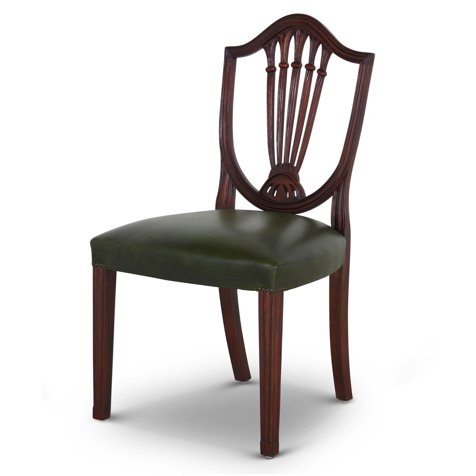 Hepplewhite style mahogany dining chair with green leather seat - set of 8