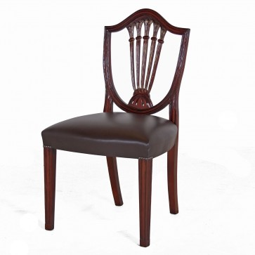 Hepplewhite style mahogany dining chair with leather seat