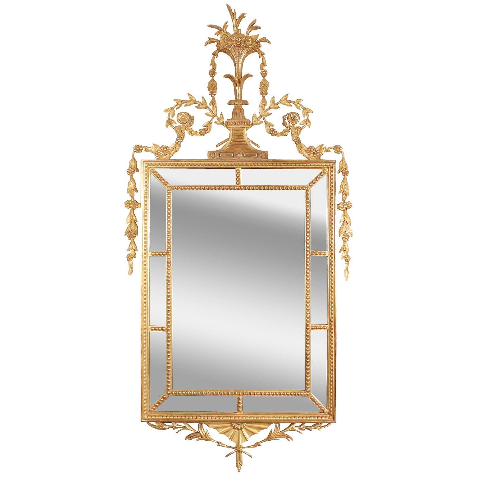 Hepplewhite style water gilded mirror in real gold leaf