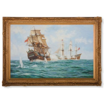 HMS Centurion framed oil painting