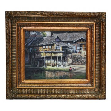 House on stilts near Nanning, framed oil painting
