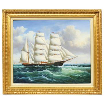 In full sail, framed oil painting